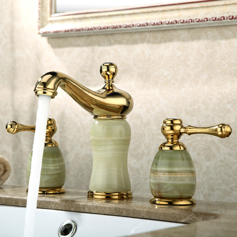 Split Faucet Soft Basin Faucet Brass Jade Gold Cold  Hot Switch Double Handle Bathroom Shower Room  Three Hole mixer tapsSplit Faucet Soft Basin Faucet Brass Jade Gold Cold  Hot Switch Double Handle Bathroom Shower Room  Three Hole mixer taps