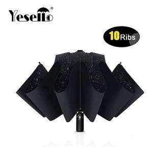Image 1 - Yesello מתקפל הפוך מטריית גשם נשים גברים גדול Windproof שחור ציפוי שמש מטריות מתנות שמשייה אוטומטית BusinessUmbrla