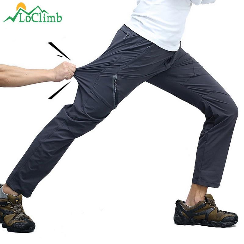 LoClimb 8XL Reflective Hiking Pants Men Summer Quick Dry Outdoor Pants Man Mountain Trekking Trousers Waterproof Pants AM012