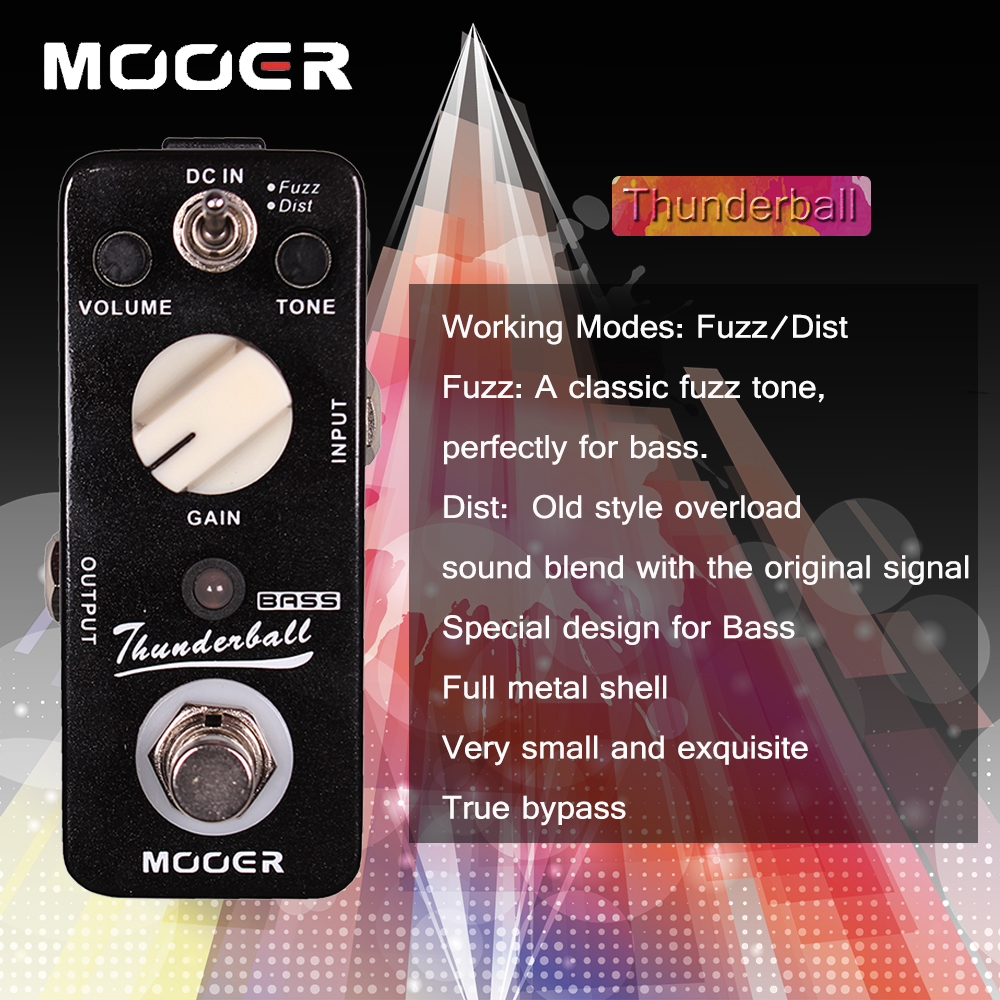 Mooer Full Metal Shell Thunderball 2 Mode Bass Fuzz and Distortion Effect Pedal True Bypass nux metal core distortion stomp boxes electric guitar bass dsp effect pedal 2 metal hardcore sound true bypass
