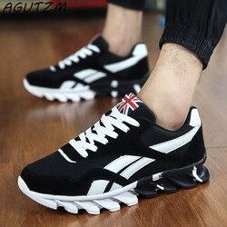 AGUTZM Primavera/outono calçados casuais sapatilha dos homens na moda confortável malha moda lace-up masculino Adulto sapatos zapatos hombre