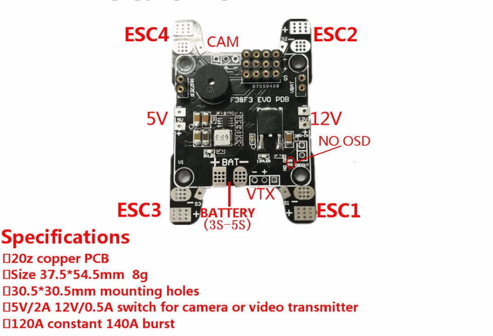 F3 EVO  SP Racing F3 FPV Flight Control Power Distribution Board PDB with 5V 12V 3A Bec cameras A/V Transmitter (VTX) connection naze32 f3 power distribution board pdb with filter bec output 5v 12v 3a osd