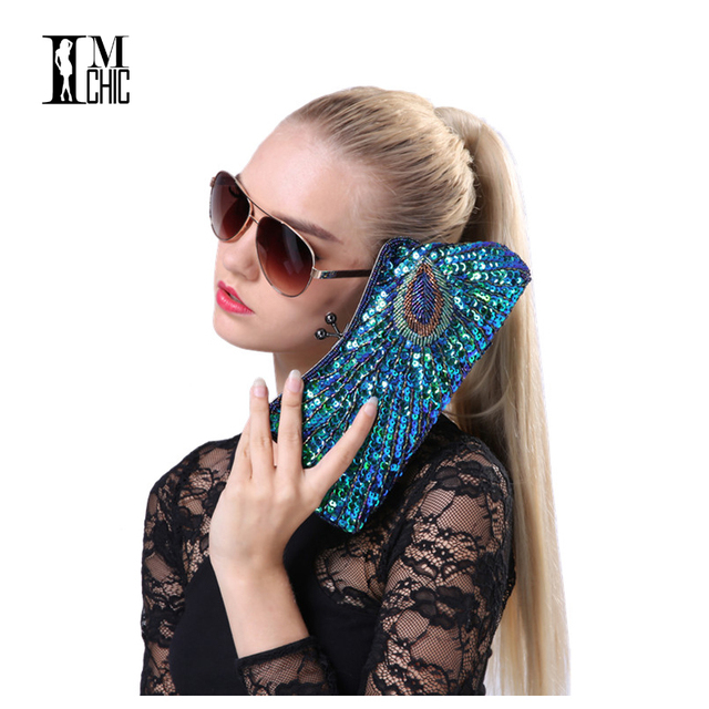 Vintage Peacock Pattern Women Evening Bags Sequins Beaded Mini Chain Handbag Luxury Party Clutch Wedding Gifts Bridal Purse
