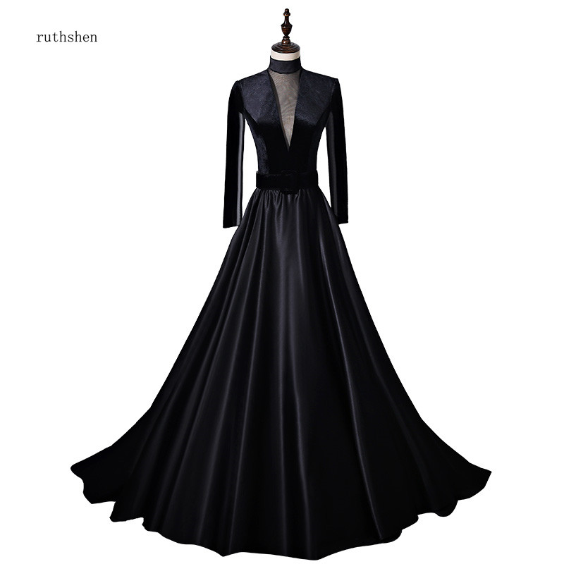 ruthshen Reflective   Dress   Long Sleeves   Prom     Dresses   Vintage High Neck A-line Black Formal Party Gowns Vestidos De   Prom   Gowns