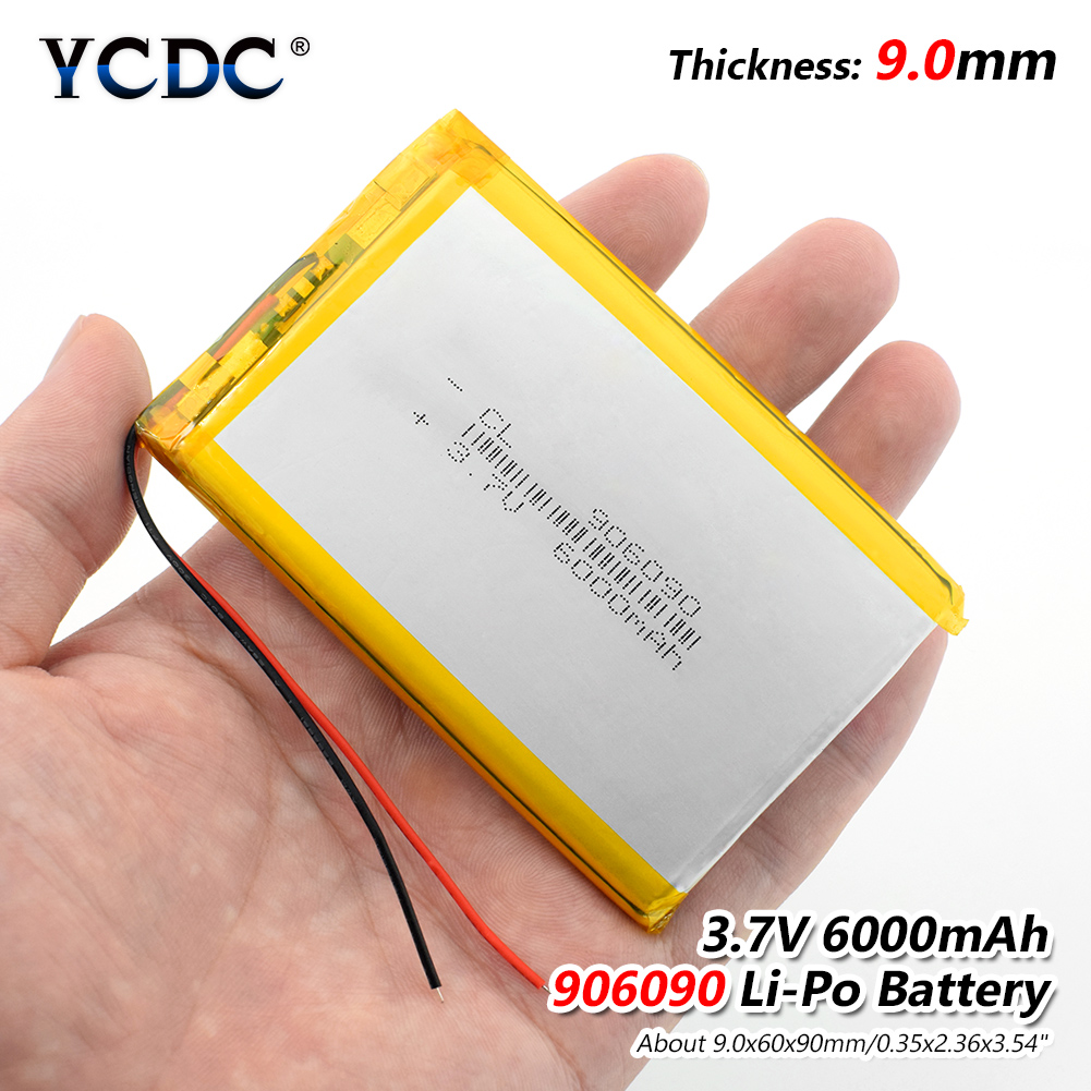 1/2/4 Pcs <font><b>3.7v</b></font> Voltage Polymer Lithium Ion <font><b>Battery</b></font> <font><b>6000mah</b></font> 906090 <font><b>Lipo</b></font> Rechargeable <font><b>Battery</b></font> For Tablet GPS MID Digital Product image