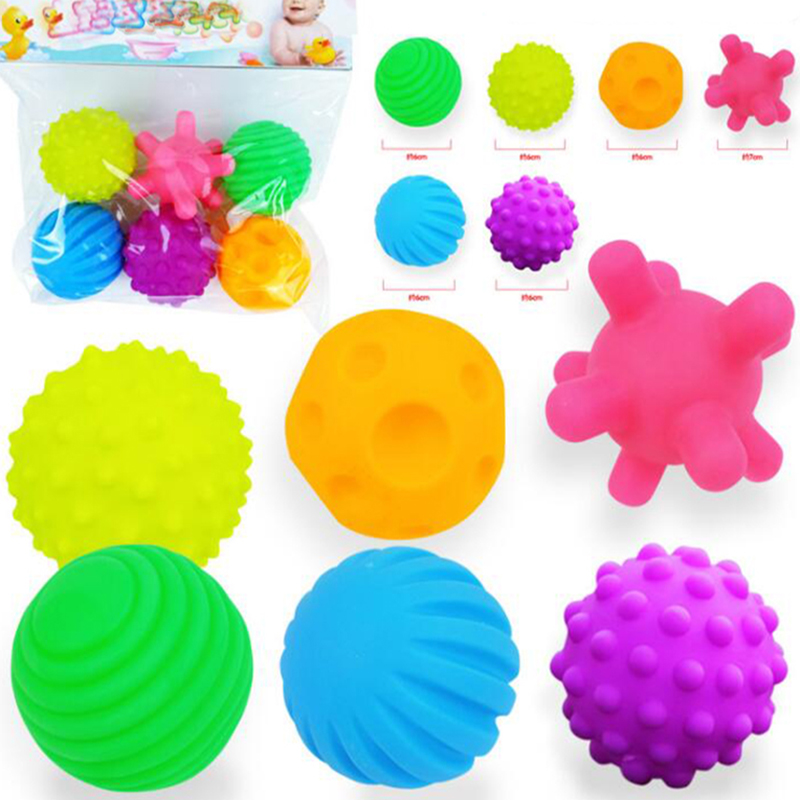 6pcs Baby Rubber Ball Soft Textured Ball Toy Capsule Ball Set Develop Baby Tactile Senses Stress Training Massage Touch Ball 48