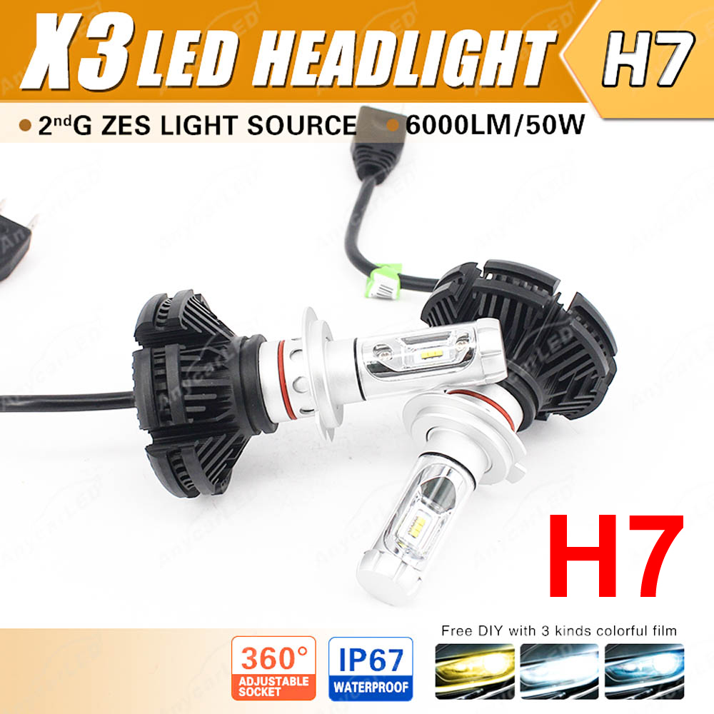 1 Set H7 50W 6000LM X3 LED Headlight LUMILED 2nd ZES Chips 12SMD Fanless All in