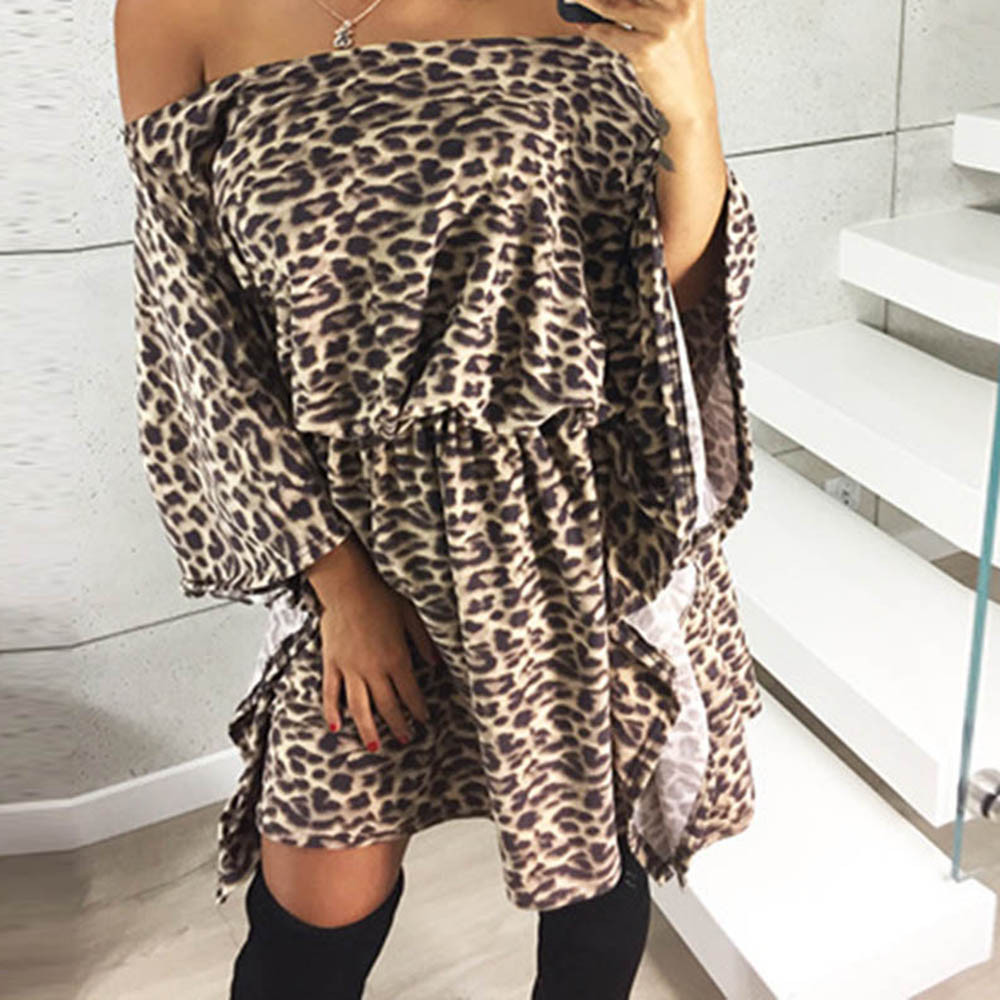 Detail Feedback Questions about DROPSHIP 2018 New Arrival Womens Sexy Dress  Leopard Printed Long Flare Sleeve Party Dress Slash neck Mini Dress  Freeship ... 3e400aaa2