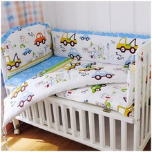 Promotion! 6PCS Cars baby crib bedding sets, mouse bedding sets (bumper+sheet+pillow cover)