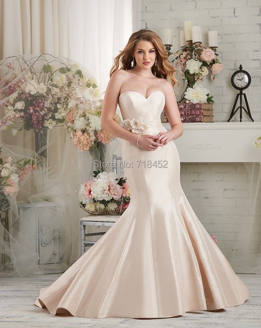 Pink Satin Mermaid Wedding Dresses