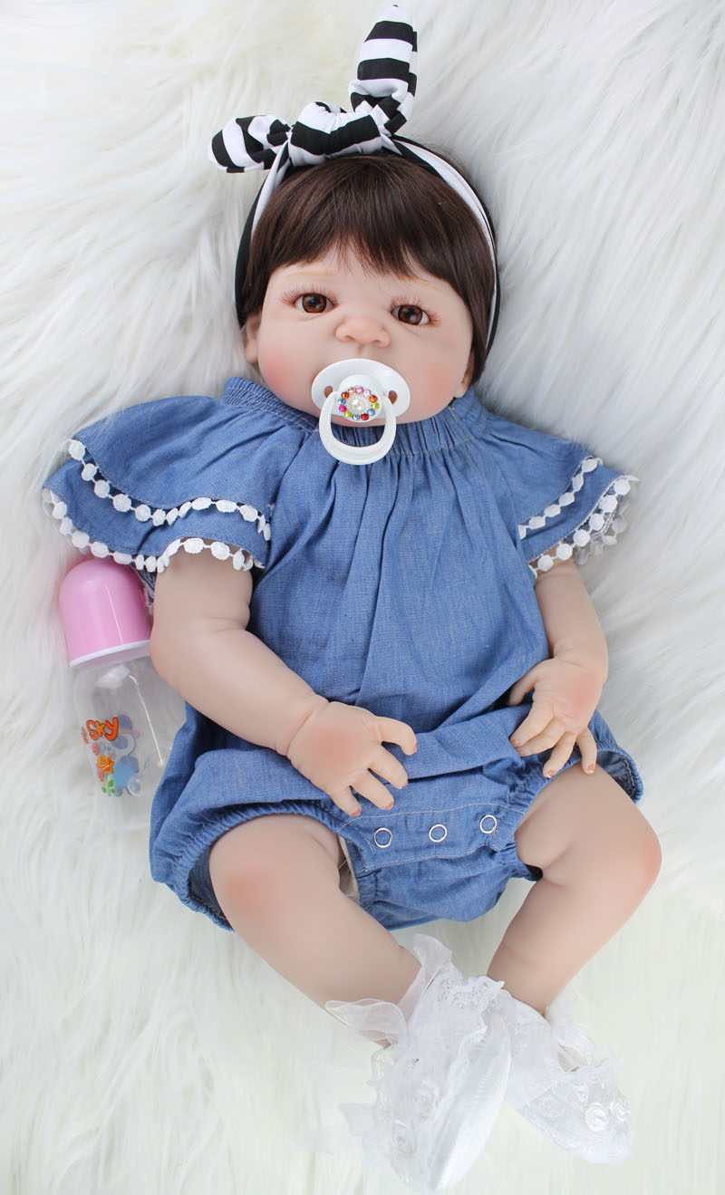 NPKCOLLECTION 55 cm Corpo Cheio de Silicone Bebê Reborn Boneca de Brinquedo Como Verdadeiro 22 polegada Menina Recém-nascidos Bebês Princesa Boneca Banhar garoto de brinquedo de Presente