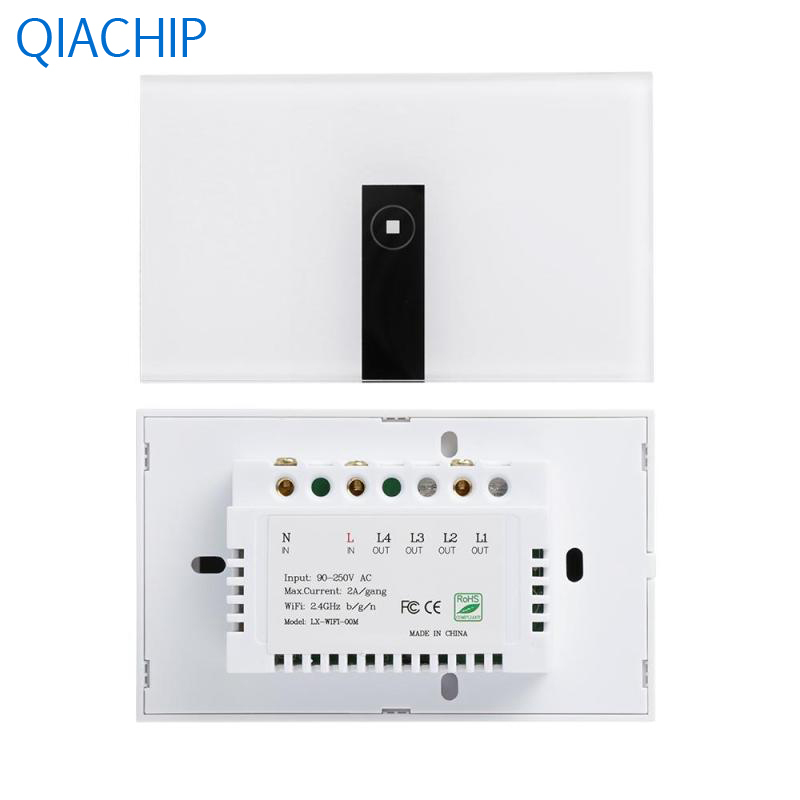 2.4G WiFi Smart Timing Wall Switch 1-CH Wall Light Switch APP Remote Control Switch US Plug Luxury Crystal Tempered Glass Panel 2017 smart home crystal glass panel wall switch wireless remote light switch us 1 gang wall light touch switch with controller