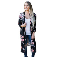 2017 FASHION Womens Print Bohemia Cardigan Long Kimono Oversized Shawl Deep V Blouse Y90530