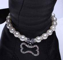 Pet Dog Pearls Necklace Collar Diamond Bone / Charm Pendant for Dogs in 3 Sizes