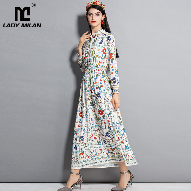 New Arrival 2018 Womens Turn Down Collar Long Sleeves Floral Printed Elastic Waist Fashion High Street Casual Dresses