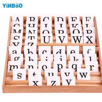 Montessori Educational Wooden Toys For Children Cursive Moveable Alphabets with Box for Early Childhood Education Preschool