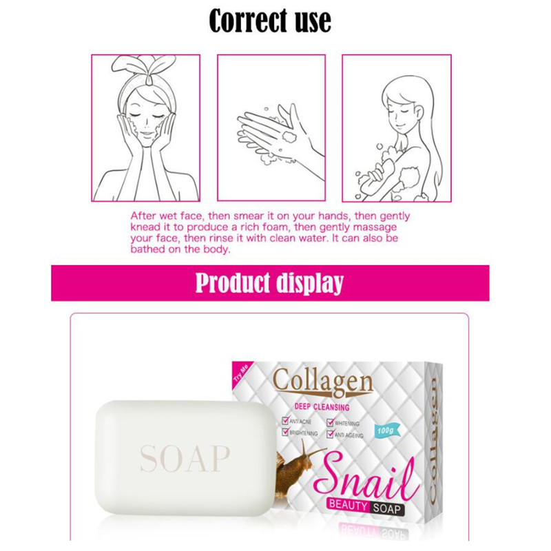 Snail Whitening Soap, Hand-made, Refreshing, Moisturizing And Refreshing Pore, Shrinking Pore, Anti-allergy, Relieve Skin