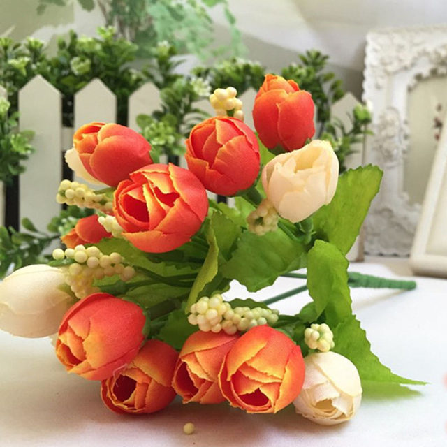 Hy Gifts Wedding Decoration Five Colors 15 Heads Unusual Artificial Rose Silk Fake Flower Leaf Home