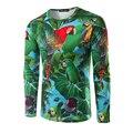 Nova Chegada dos homens T-shirt Design de Manga Comprida O Pescoço do Homem 3D camiseta impressão papagaio moda camiseta marca clothing camiseta homens