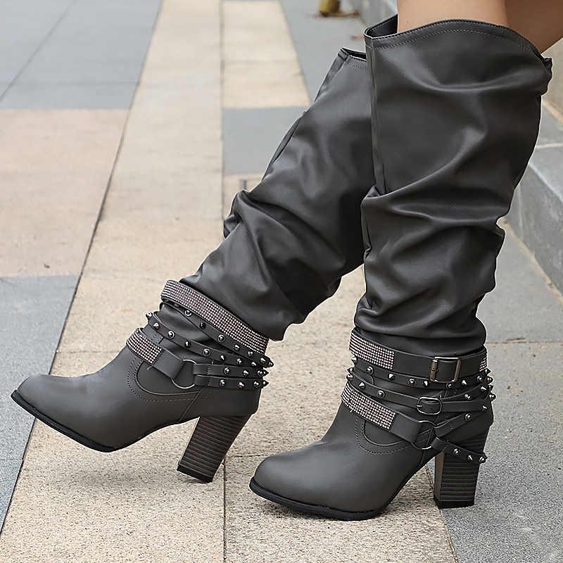 4b5a6a432535 Осенние сапоги для женщин заклепки Кристалл ботинки до середины икры  Большие ...
