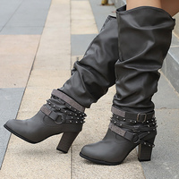 Autumn   boots   for women rivet crystal mid-calf   boots   plus size 9-10.5 non-slip high heels leather   boots   women fashion