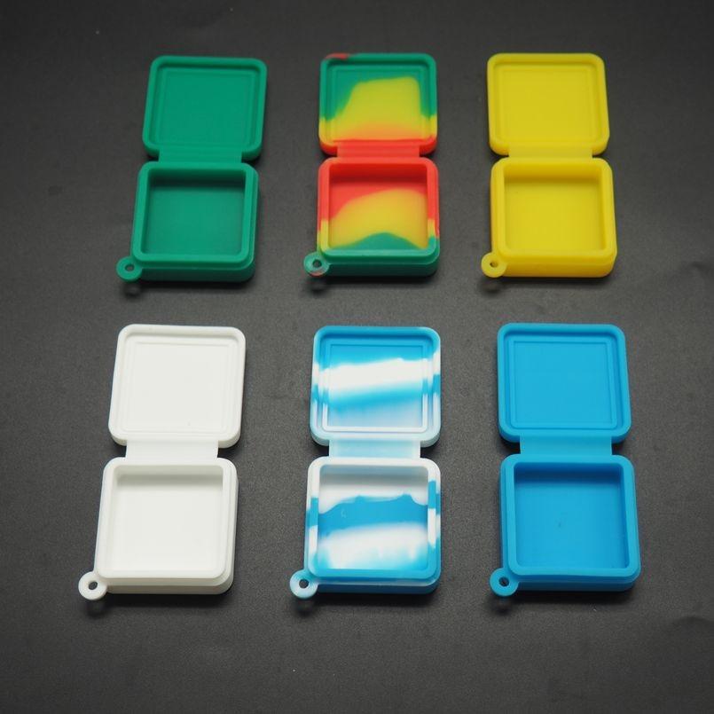 6 szt. Kolorowe silikonowe syjamskie kwadratowe pudełko 9ml bez sztyftu do wosku olejowe FDA zatwierdzone silikonowe słoik