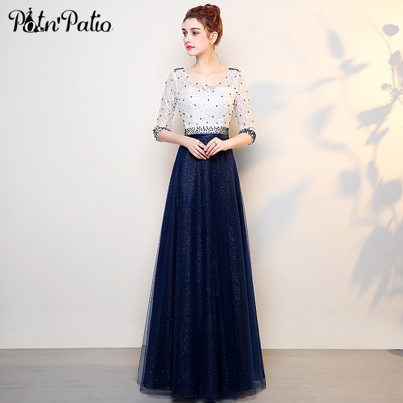 Elegant Beaded Lace Tulle   Evening     Dress   with 3/4 Sleeve Shiny Crystal Navy Blue Long Formal Party Gowns 2018   Evening   Party   Dress