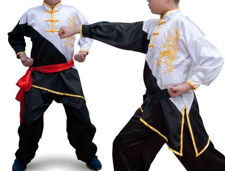 unisex 3color long sleeve kids&adult shaolin monks embroidery dragon outfit taichi clothing kungfu martial arts uniforms