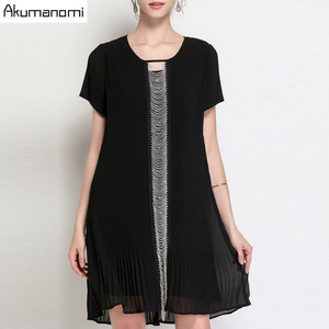 Image 1 - Summer Draped Dress Women Clothing Black O neck Short Sleeve Beading Dress High Quality Fashion Plus Size 5XL 4XL 3XL 2XL XL L M