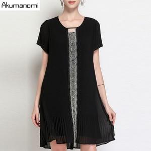 Summer Draped Dress Women Clothing Black O-neck Short Sleeve Beading Dress High Quality Fashion Plus Size 5XL 4XL 3XL 2XL XL L M(China)