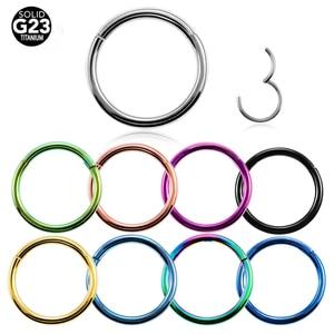 1PC G23 Titanium Hinged Segment Nose Ring 16g&14g Nipple Clicker Ear Cartilage Tragus Helix Lip Piercing Unisex Fashion Jewelry(China)