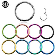1PC G23 Titanium Hinged Segment Nose Ring 16g&14g Nipple Clicker Ear Cartilage Tragus Helix Lip Piercing Unisex Fashion Jewelry(China)