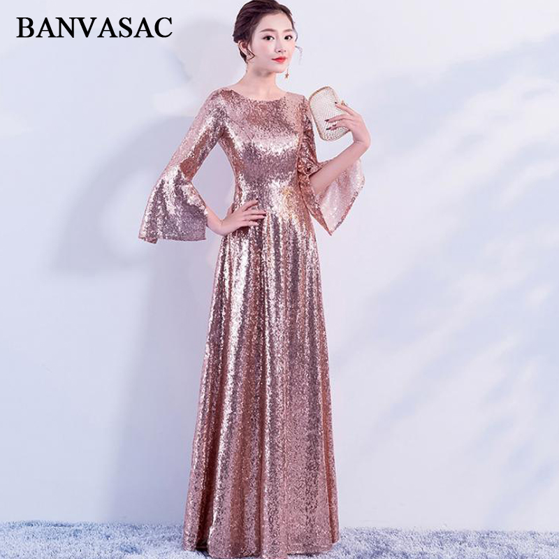 BANVASAC 2018 O Neck Rose Gold Sequined Long Evening Dresses Elegant Party A Line Long Sleeve Zipper Back Prom Gowns