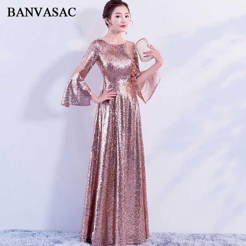 BANVASAC 2018 O Neck Rose Gold Sequined Long Evening Dresses Elegant Party  A Line Long Sleeve 6fc26d0c7995