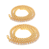 2 Pieces Gold Tone Mens Tennis Necklace 1 Row Shiny Luxury Rhinestone Iced Out Costume Sports