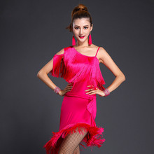 New Women Tiered Tassel Fringe Latin Dance Wear 3 Color Rumba Cha Cha Salsa Tango Dance Dress Performing Costumes
