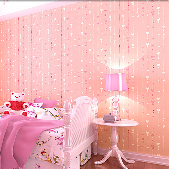 K Wallpaper Cartoon Cute Girl Childrens Room Warm Bedroom Background Non Woven Wholesale