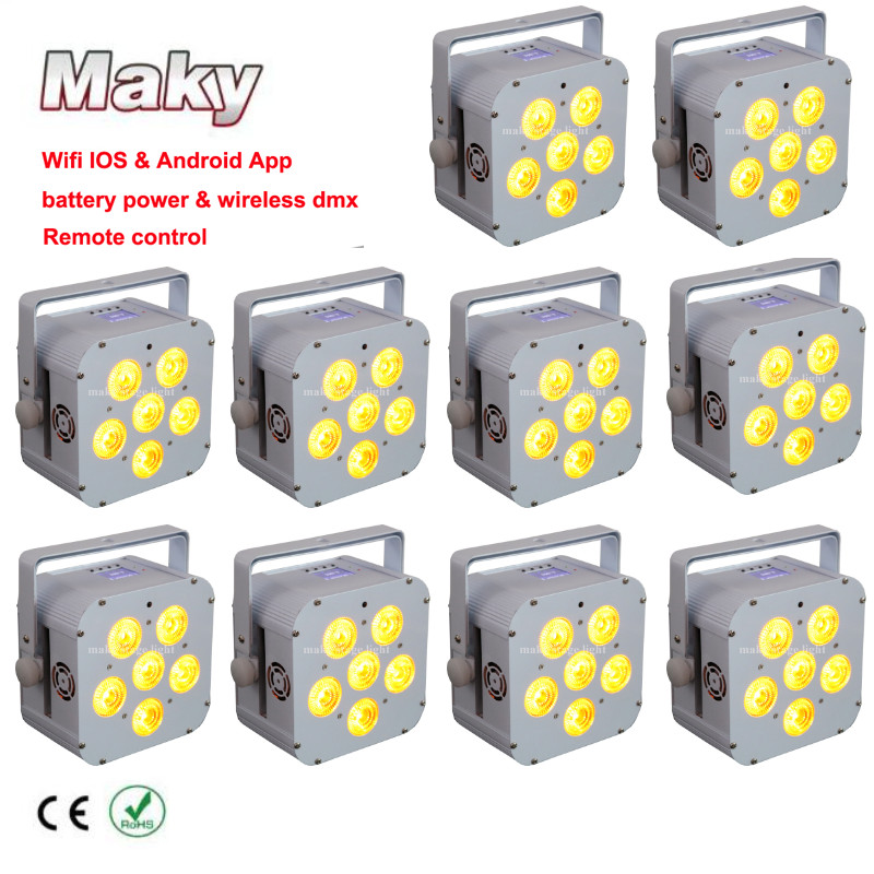 Lovely 10 X Lot Professional Wedding Show Event Uplighting 6*18w Rgbwauv 6in1 Leds Cube Flat Par Light With Led Panel For Bar Decoratio Mild And Mellow Back To Search Resultslights & Lighting Professional Lighting
