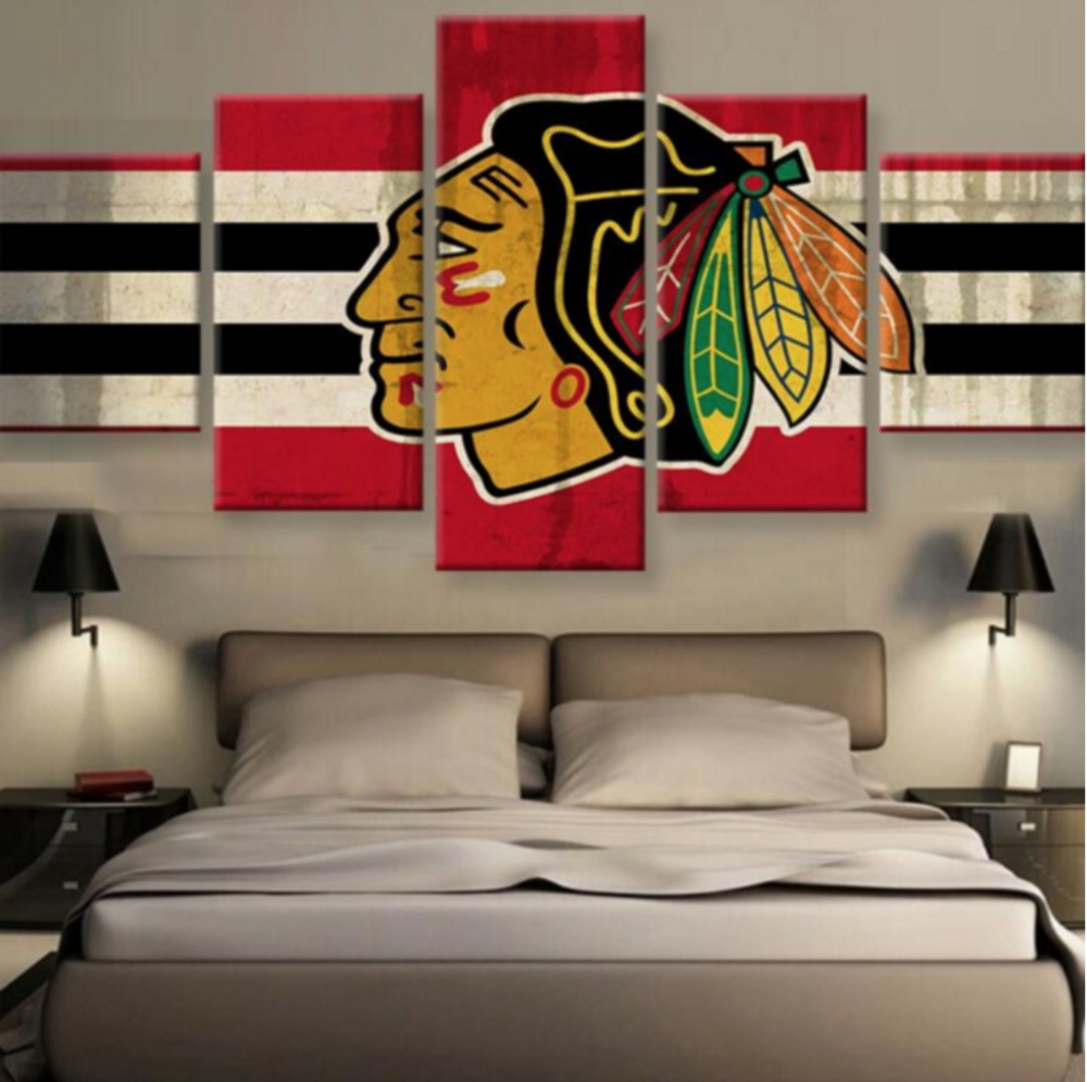 Chicago Home Decor Stores: 5 Pieces Chicago Blackhawks Wall Art Canvas Printed