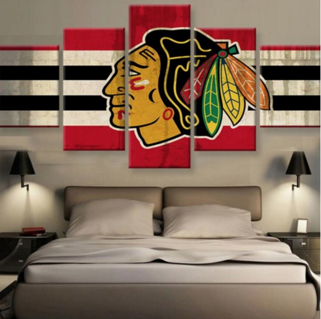 5 Pieces Chicago Blackhawks Wall Art Canvas Printed Painting Home Decor For Living Room Modern Artwork