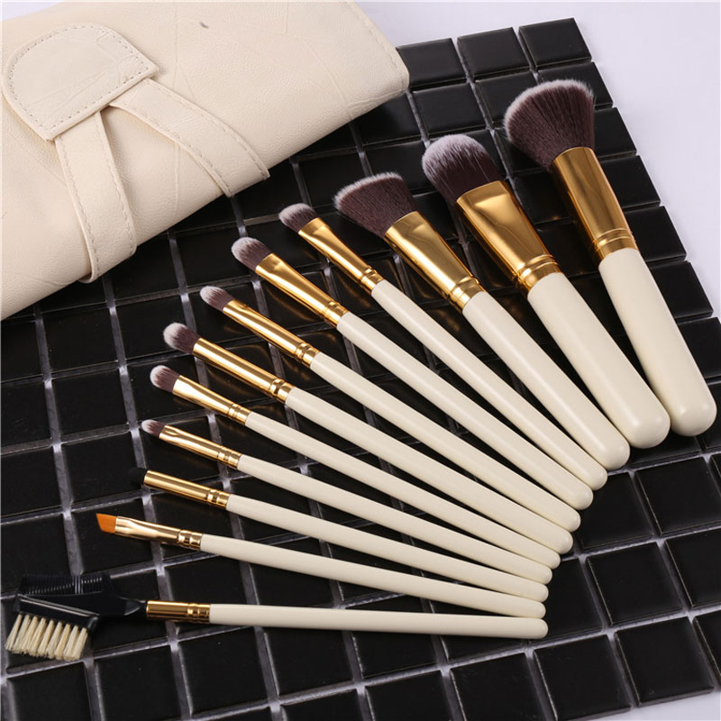 Professional 12pcs Makeup Brush Set Nature Cosmetic Powder Foundation Blush Eyeshadow Eyeliner Lip Make up Brushes Kit Tool New new lcbox professional 16 pcs makeup brush set kit pouch bag cosmetic brush kit cosmetic powder foundation eyeshadow brush tools