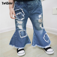 Yorkzaler Children Girl Bell bottomed Pants Summer Ripped Hole Sew Jeans Fashion Broken Hole Kids Jeans For Girls Baby Clothing