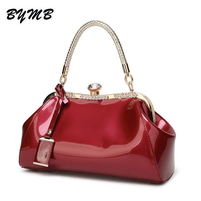 acee0a3359673 2018 diamant Tasche Vintage frauen taschen rot blau patent leder handtaschen  damen handtasche kupplung frauen große