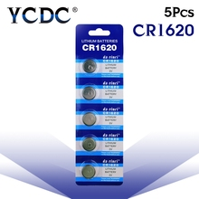 5pcs/pack CR1620 Button Batteries ECR1620 DL1620 5009LC Cell Coin Lithium Battery 3V CR 1620 For Watch Electronic Toy Remote