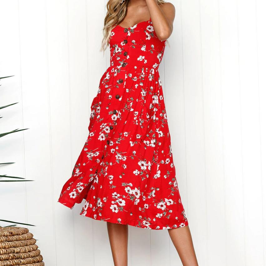 Lanxirui Dress New High Quality Girl Sexy Printing Buttons Off Shoulder Sleeveless Dress Princess Dress Women Ap24 in Dresses from Women 39 s Clothing