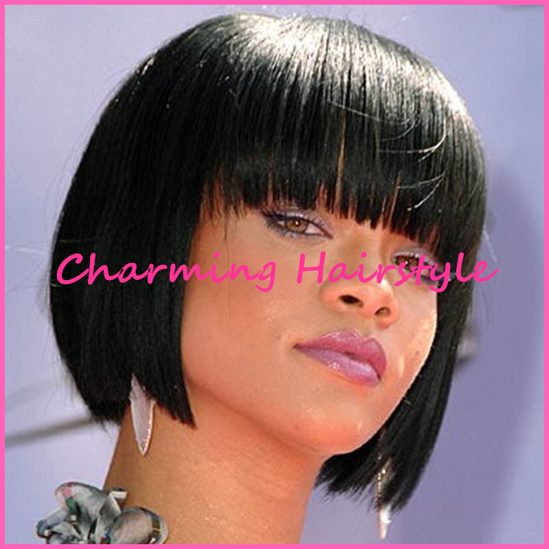 Rihanna Short Female Haircuts Bob Style Natural Black Color Real