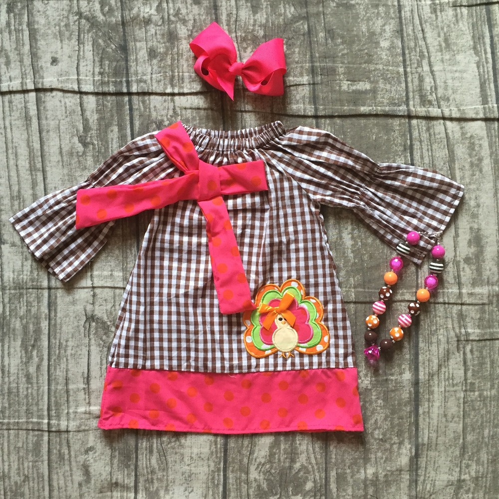 Fall Thanksgiving baby girls kids turkey hotpink brown wave plaid party dress woven boutique children clothes match accessories thanksgiving baby girls kids fall striped brown outfits dress pumpkin boutique cotton sleeve children clothes match accessory