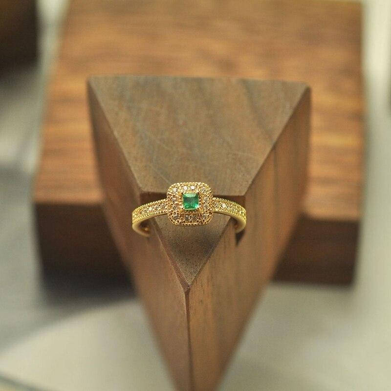 LouLeur 925 bague en argent sterling émeraude or carré naturel émeraude zircon anneaux réglables pour les femmes 2018 mariages bijoux