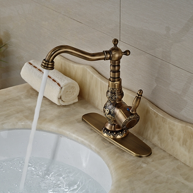 Wholesale And Retail Luxury Antique Brass Bathroom Faucet Flower - Wholesale bathroom fixtures