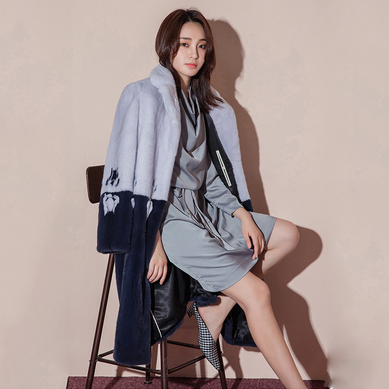 Femmes Col Épaissir Lvchi Moyen Velours 2019 Vison De Bleu Fourrure Hiver Mandarin Impression Complet Royal Cygne Réel Manches Manteaux Manteau F7Zw6F